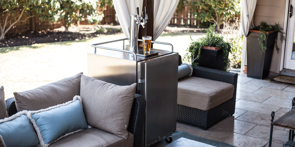 outdoor kegerator on patio